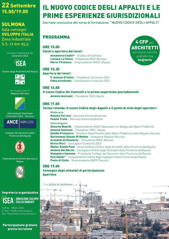 La locandina del seminario dell'ISEA codice appalti pubblici